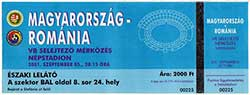 Ticket Hongarije-Roemenië 5-9-2001.