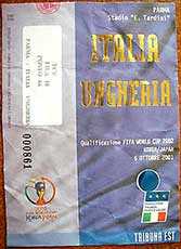Ticket Italië-Hongarije 6-10-2001.