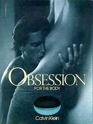 Klein's reclame voor de body lotion 'Obsession'.